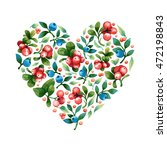 isolated watercolor heart shape ... | Shutterstock . vector #472198843