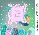 frame with mermaid and place... | Shutterstock .eps vector #472216300