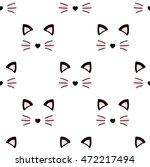 cute cat face. seamless...   Shutterstock .eps vector #472217494