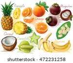 tropical fruit set on white... | Shutterstock .eps vector #472231258