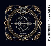 vintage thin line sagittarius...   Shutterstock .eps vector #472232653