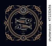 vintage thin line pisces zodiac ... | Shutterstock .eps vector #472232656