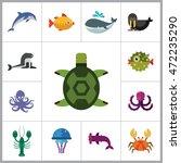 sea creatures icons set | Shutterstock .eps vector #472235290