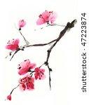 flowering cherry. spring. ink... | Shutterstock . vector #47223874