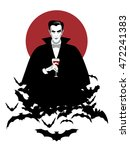 elegant vampire on a cloud of... | Shutterstock .eps vector #472241383