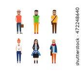 hipster girls and boys cartoon... | Shutterstock .eps vector #472248640