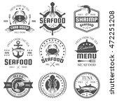 seafood black white restaurant... | Shutterstock .eps vector #472251208