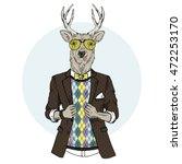funky deer hipster  furry art... | Shutterstock .eps vector #472253170