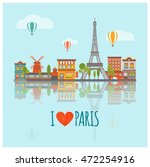 Colored Paris Skyline Poster...