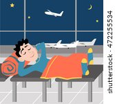 sleep guy at the airport on the ... | Shutterstock .eps vector #472255534