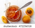 jar of apricot jam on white... | Shutterstock . vector #472256518