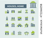 houses  home icons   Shutterstock .eps vector #472266058