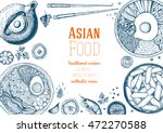 asian food frame. linear... | Shutterstock .eps vector #472270588