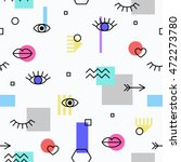 seamless pattern with eyes and... | Shutterstock .eps vector #472273780