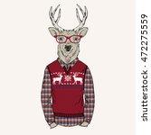 deer man dressed up in jacquard ... | Shutterstock .eps vector #472275559