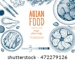 asian food frame. linear... | Shutterstock .eps vector #472279126