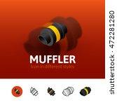 muffler color icon  vector...