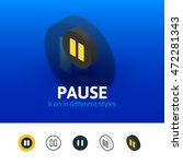 pause color icon  vector symbol ...