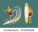 cool vector surfer character in ... | Shutterstock .eps vector #472290628