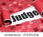 law concept  black text judge... | Shutterstock . vector #472291318