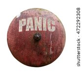 Small photo of Isolated Rustic Vintage Red Alarm Bell With The Word Panic In White