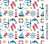 seamless sea pattern. marine... | Shutterstock .eps vector #472298140