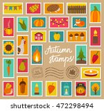vector set of autumn stamps.... | Shutterstock .eps vector #472298494