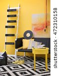 stylish room interior on yellow ... | Shutterstock . vector #472310158