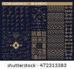 166 elements set. corners ... | Shutterstock .eps vector #472313383