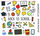 set of back to school doodle... | Shutterstock .eps vector #472326040