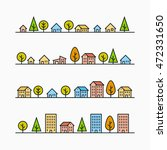 line buildings and trees in... | Shutterstock .eps vector #472331650