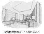 sketch interior perspective... | Shutterstock . vector #472343614