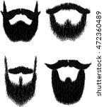 set of hairy curly hipster... | Shutterstock . vector #472360489