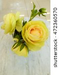 blurred yellow roses on coffee... | Shutterstock . vector #472360570