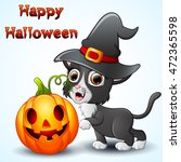 cat cartoon with a witch hat... | Shutterstock .eps vector #472365598