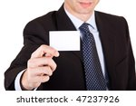 Businessman and his visiting card - free space in the textarea - stock photo