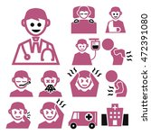 doctor and patient icon set | Shutterstock .eps vector #472391080