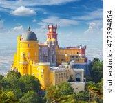 Small photo of Famous and beautiful Landmark - National Palace of Pena and blue sky - Sintra, Lisboa, Portugal, Europe
