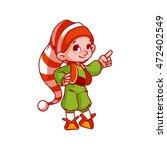 little santa's helper pointing... | Shutterstock .eps vector #472402549