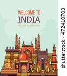 india skyline. vector... | Shutterstock .eps vector #472410703