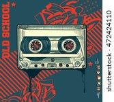 audio cassette on graffiti...   Shutterstock .eps vector #472424110