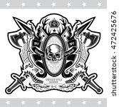 skull front view in center of...   Shutterstock .eps vector #472425676