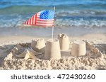 Sand Castle With American Flag...