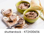 chicken liver pate with bread... | Shutterstock . vector #472430656