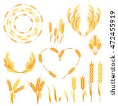 wheat ears or rice icons set.... | Shutterstock .eps vector #472455919
