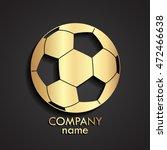 3d Football Ball Golden Logo  ...
