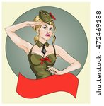 pin up sexy girl in military... | Shutterstock .eps vector #472469188