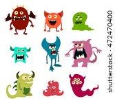 doodle monsters set. colorful... | Shutterstock . vector #472470400