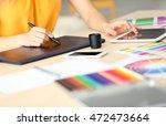 designer workplace. woman using ...   Shutterstock . vector #472473664