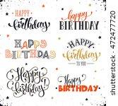 hand written happy birthday... | Shutterstock .eps vector #472477720